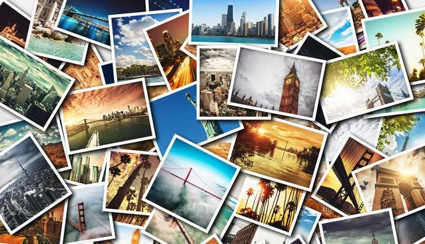 collage of printed travel images